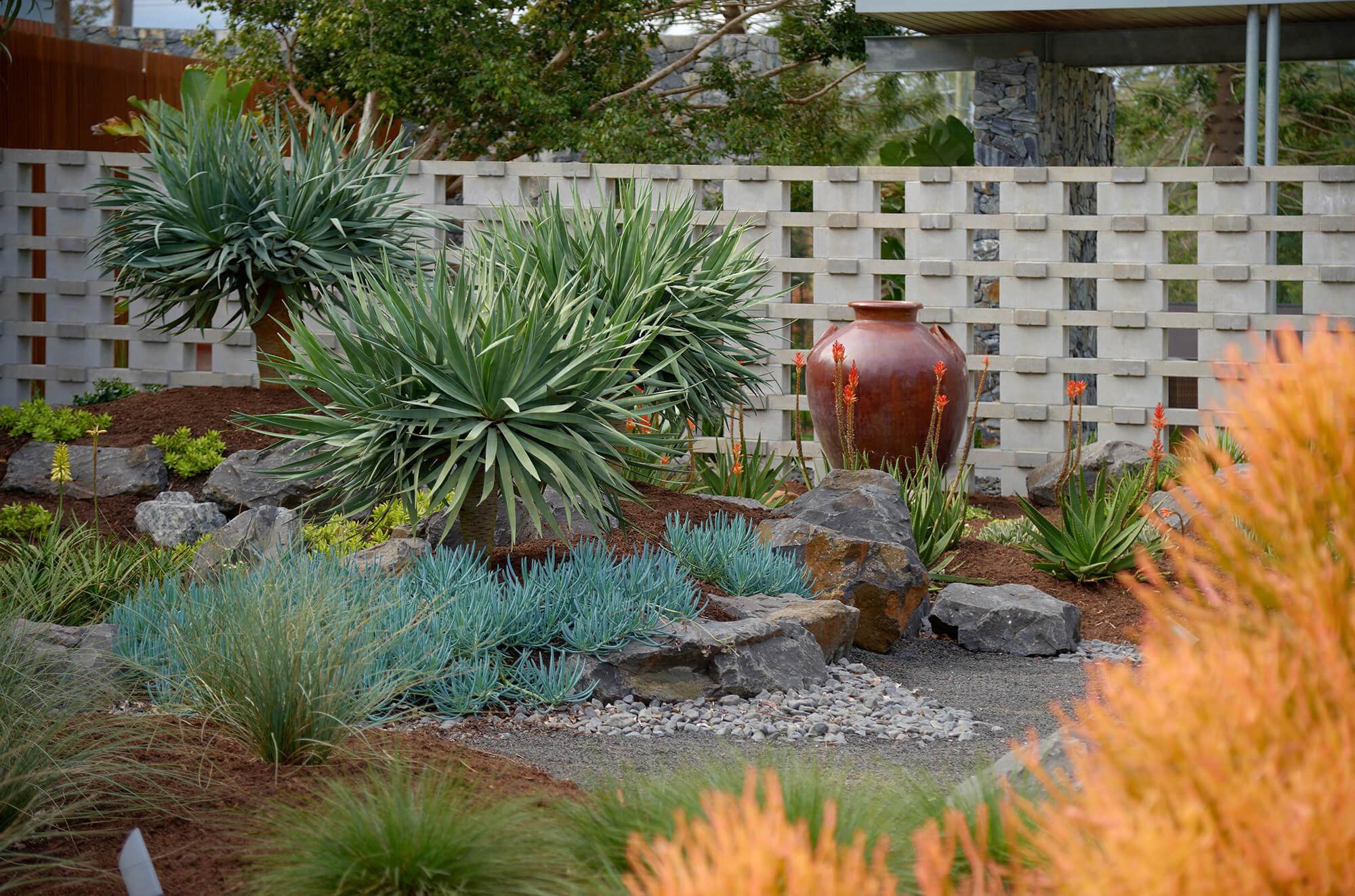 brookfield contemporary arid landscaping front garden rockscape