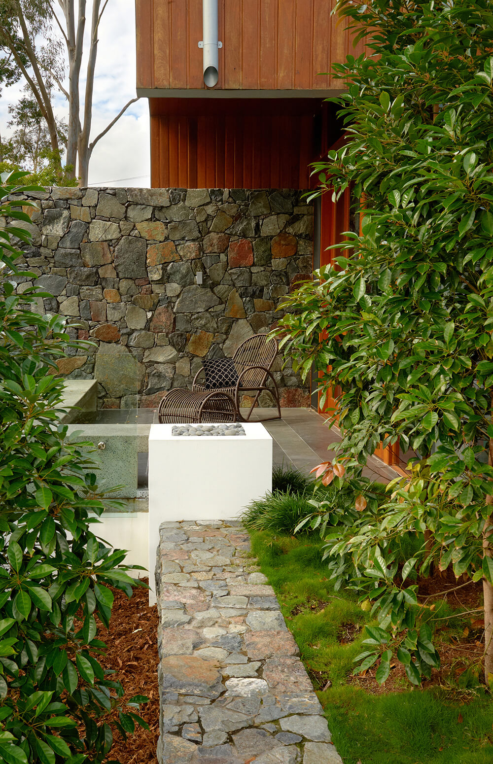 brookfield contemporary arid landscaping bluestone rock walls