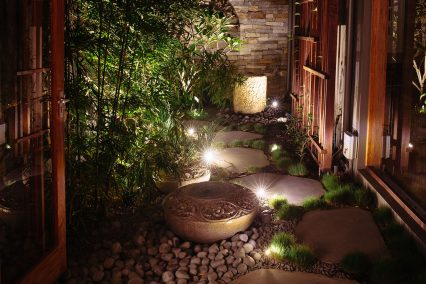 samford valley courtyard with landscape lighting