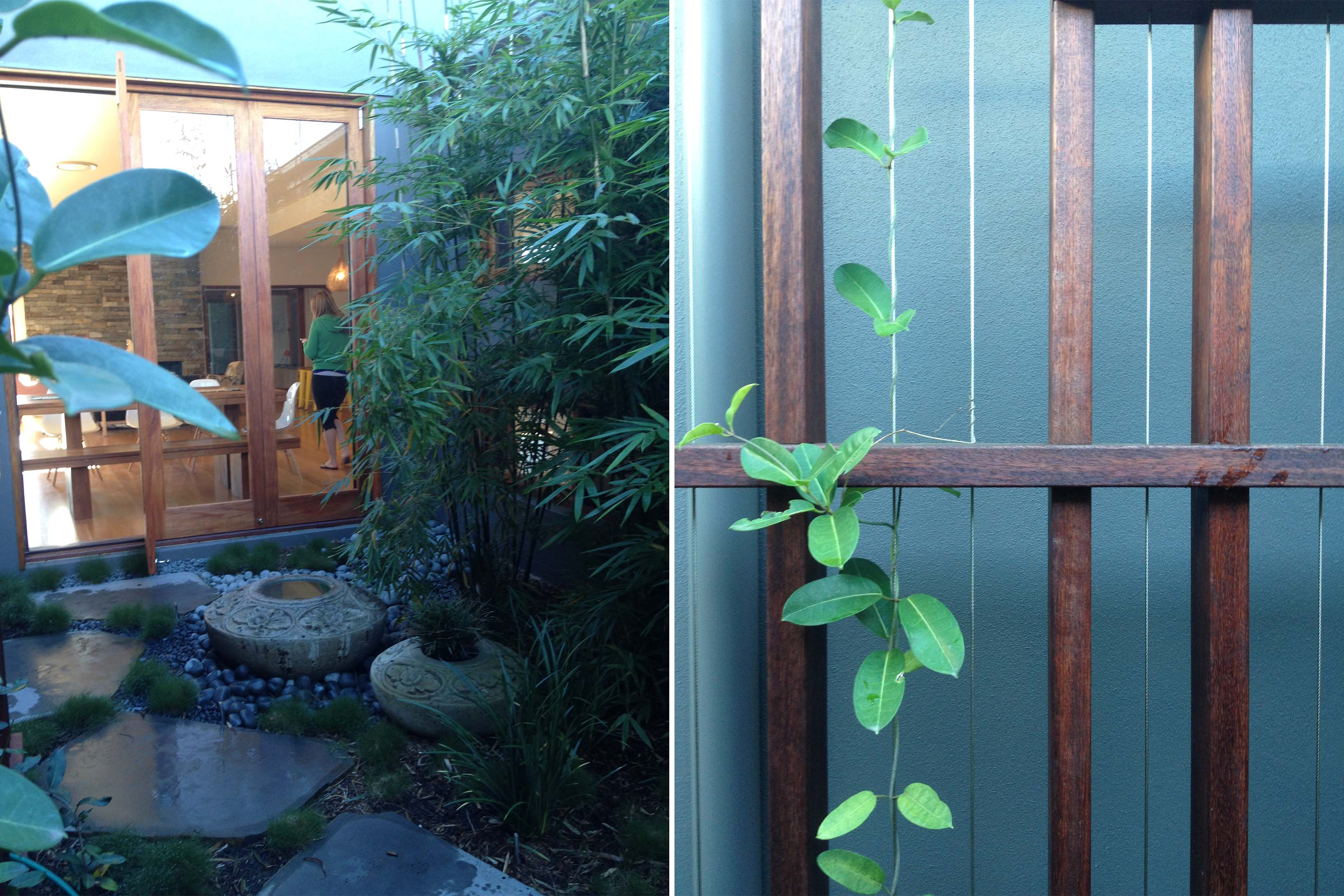 samford residence with water features, bamboo and custom trellis screening