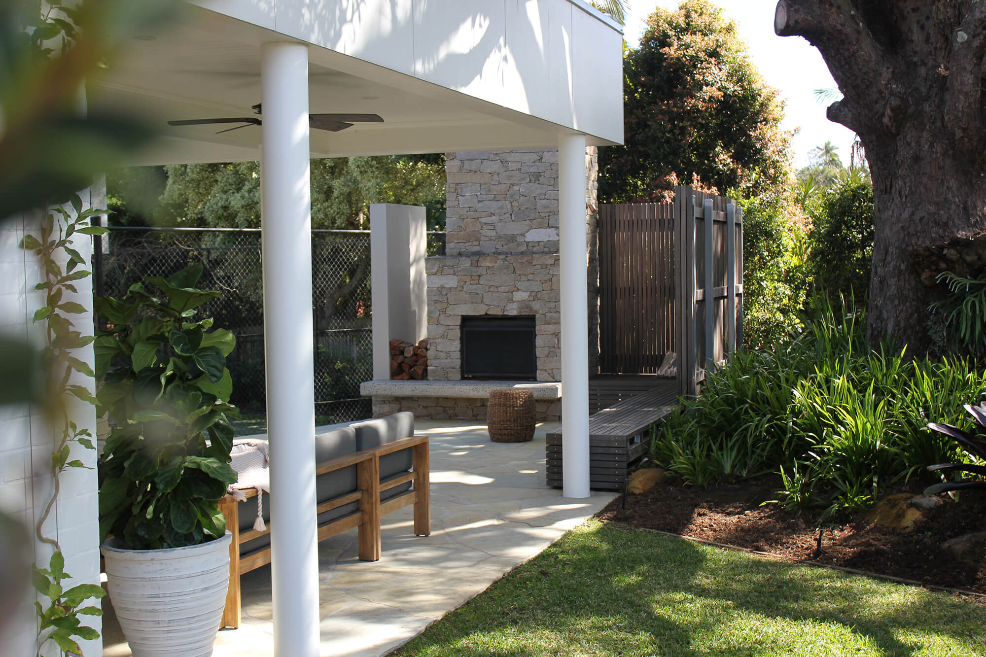 the gap trellis creeper ficus potted urn and outdoor entertaining area