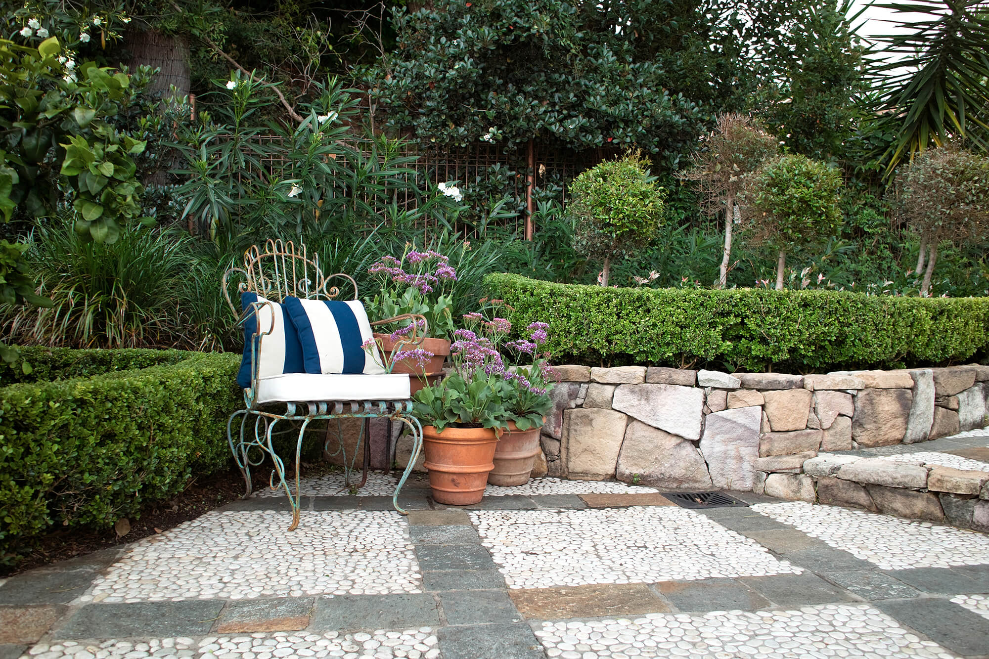 indooroopilly french provincial chair hedge and rock wall CROP