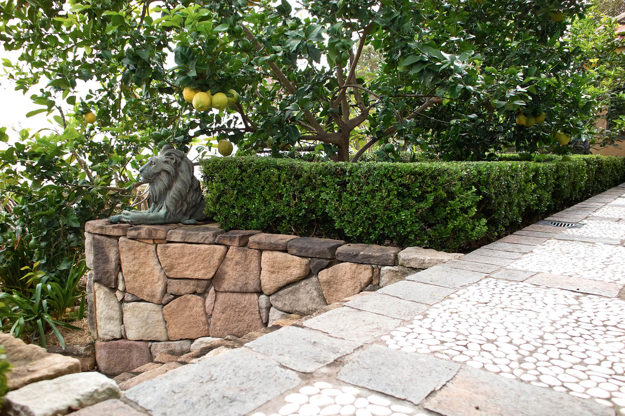 indooroopilly french provincial stone wall and lion